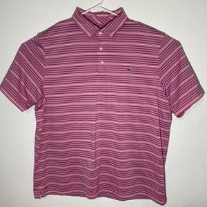 Vineyard Vines Mens XXL Pink SS Striped Polo Shirt